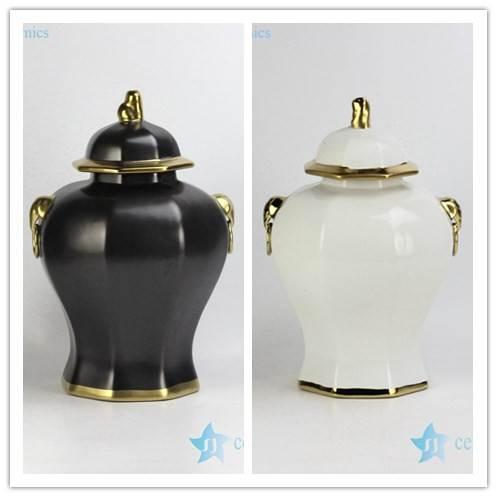 Solid color golden line gilded unique matt finish porcelain home decor jar