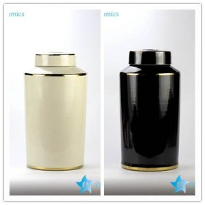 RYNQ184-D/E Plain color glossy finish golden line gilded ceramic column jar