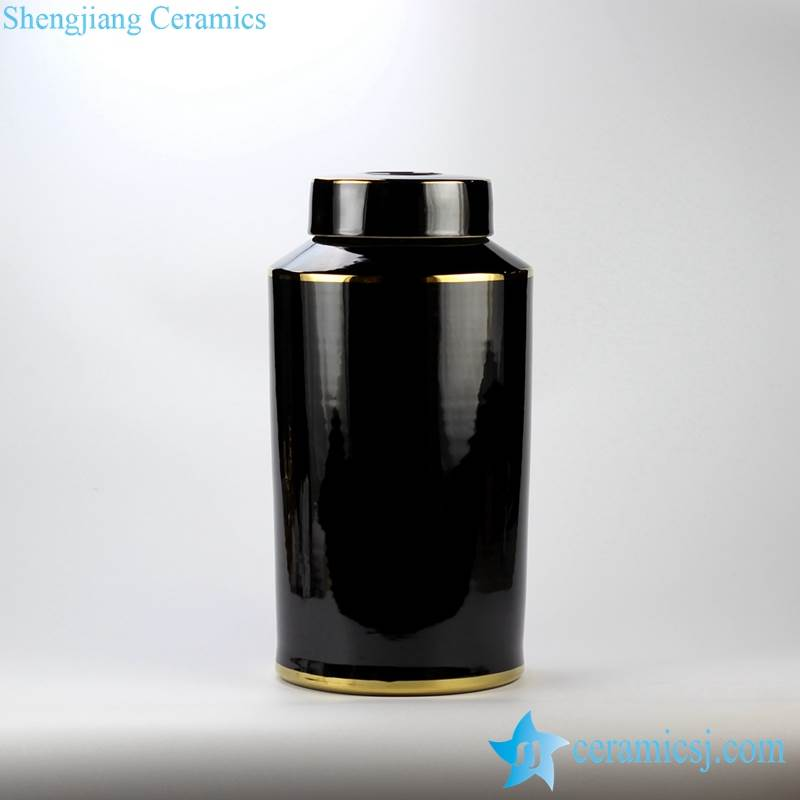 RYNQ184-D/E Plain color glossy finish golden line gilded ceramic column jar
