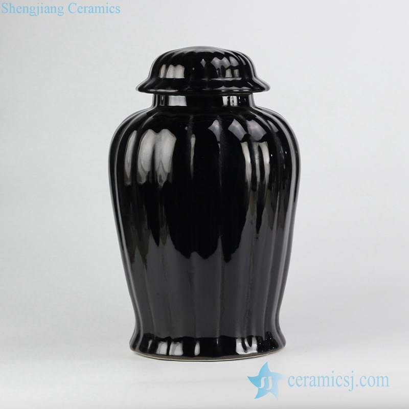 black glaze designer ridge ceramic sundry jar