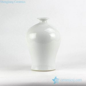 RYNQ218 White plain color Chinese crockery Meiping vase