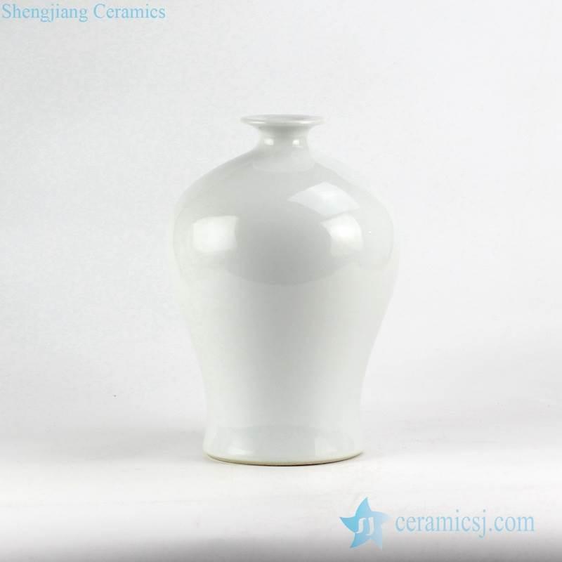 White plain color Chinese crockery flower vase