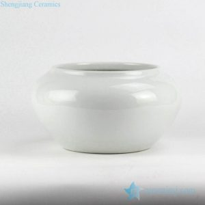 RYNQ220 Plain color glossy white glaze crockery garden pot