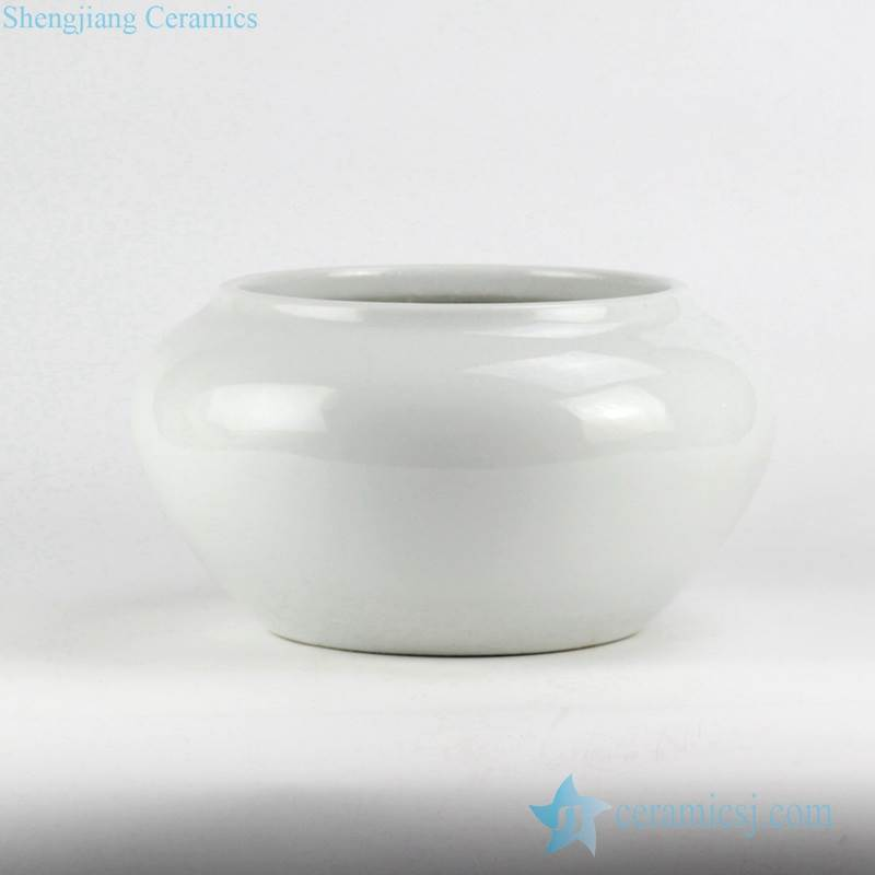 glossy white glaze crockery garden pot