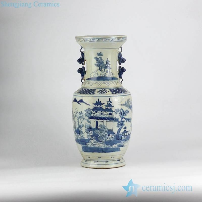 Antique finished Asian gloriette pattern hand paint cobalt blue ceramic vase