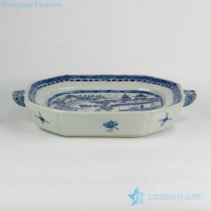 RYVM30 blue and white unique ceramic roasting/pie/flan/quiche/butter/cheese dish