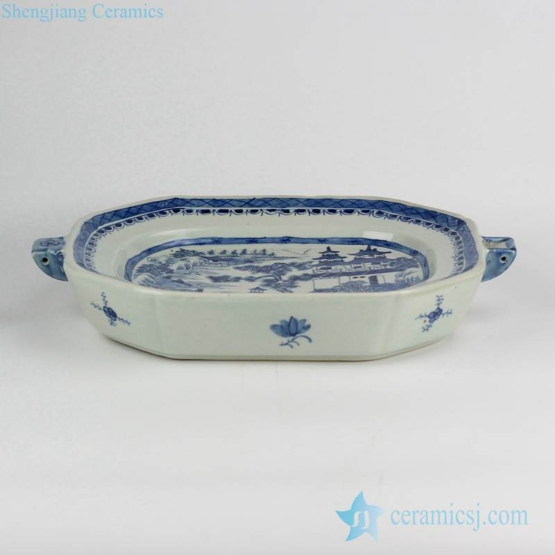 blue and white unique ceramic roasting/pie/flan/quiche/butter/cheese dish