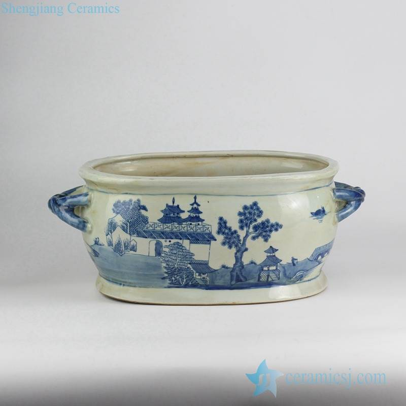 Ryvm31 Old China Antique Hand Drawing Blue And White Gloriette