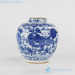 RYVW10-A Chinese kylin mythical creature pattern hand paint blue and white porcelain urn for online collection
