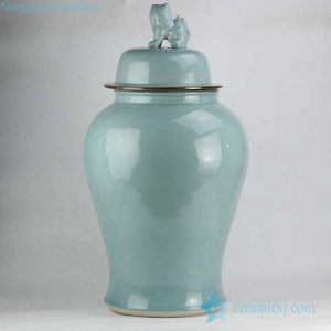 RYWY11 International online business sale turquoise ceramic jar with lion knob lid