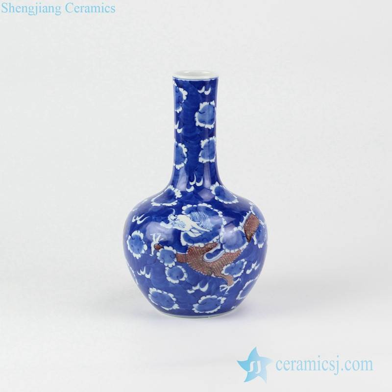 Cobalt blue glaze red China dragon flying through clouds pattern hand drawing porcelain vase