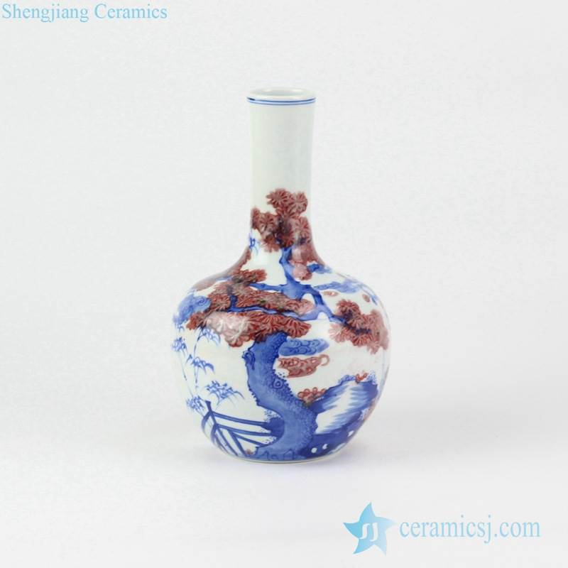 Luxury blue and underglaze red hand paint greeting pine pattern globular shape porcelain vase