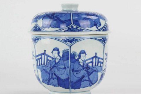 RYXN27 Japan style hand paint cobalt blue ancient lady pattern ceramic tea tin