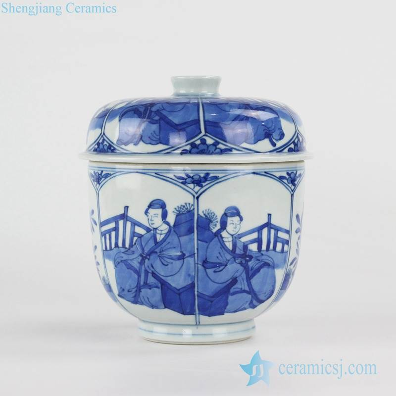 Japan style hand paint cobalt blue ancient lady pattern ceramic tea tin
