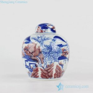 RYXN28 blue and under glaze red Jingdezhen China artisan hand paint landscape ceramic tea caddy