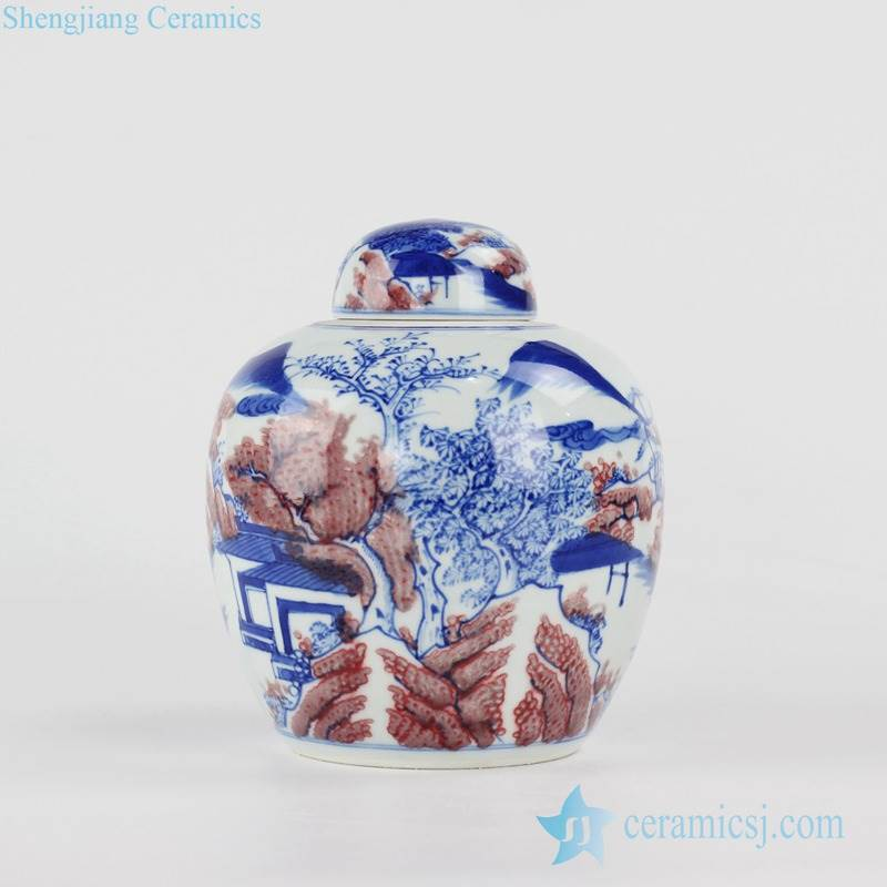 blue and under glaze red Jingdezhen China artisan hand paint landscape ceramic tea caddy