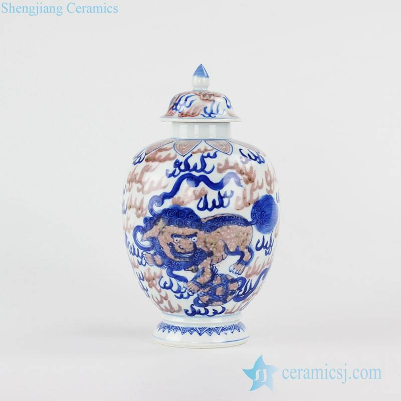 Popular present hand paint Chinese fire kylin pattern blue and under glaze red ceramic sundry jar