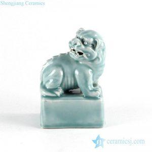 RYXZ13 Celadon green glaze crouching lion porcelain statue online sale