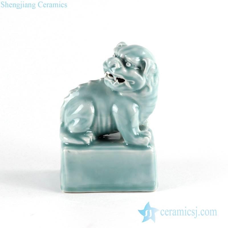 Celadon green glaze lion porcelain statue online sale