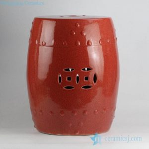 RYYV05 Hot sale red color with crackle ceramic lounge stool