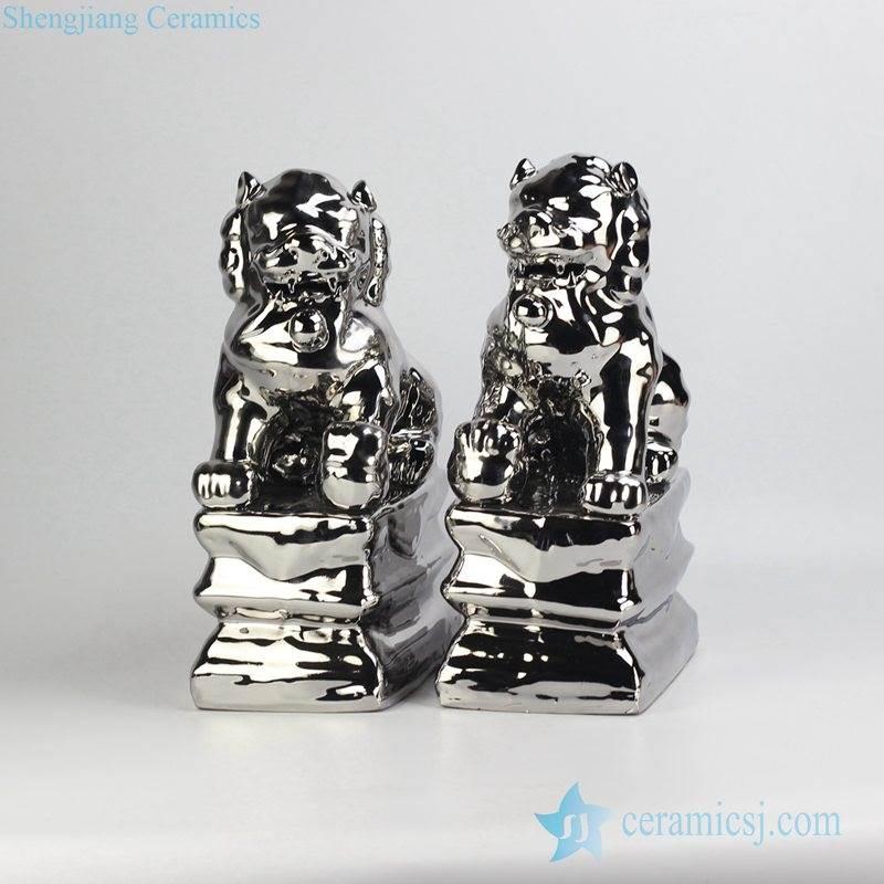 Silver pleated plain color porcelain lion book end
