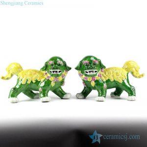 RZGB04 Jade color yellow fur vivid porcelain lion statues in pair
