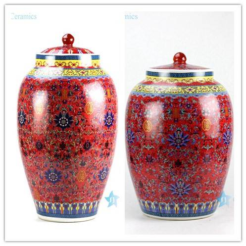 China red thousand floral pattern ceramic flour jar