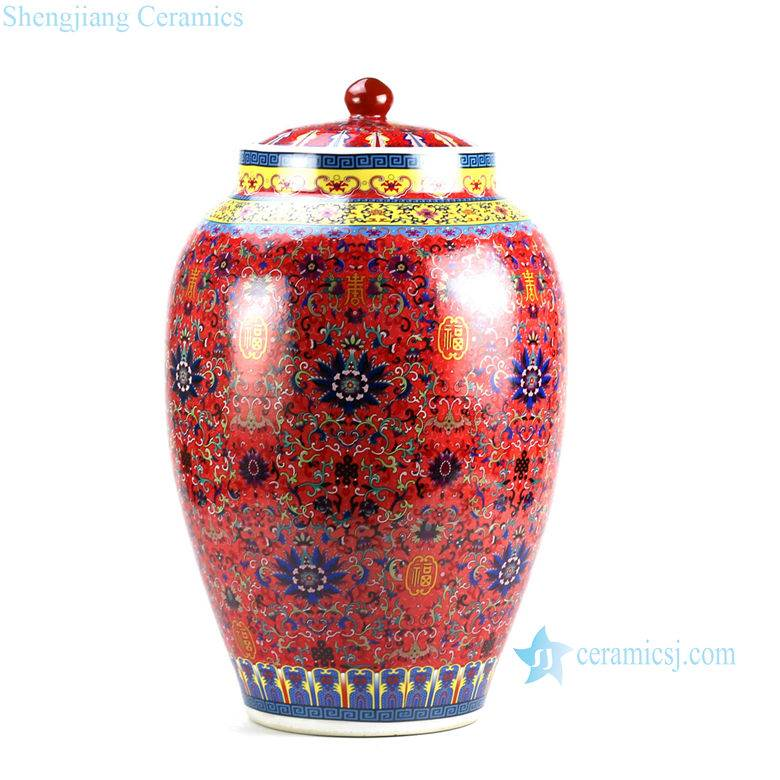RZHA01 RZHB01 China red thousand floral pattern kitchen ceramic flour jar