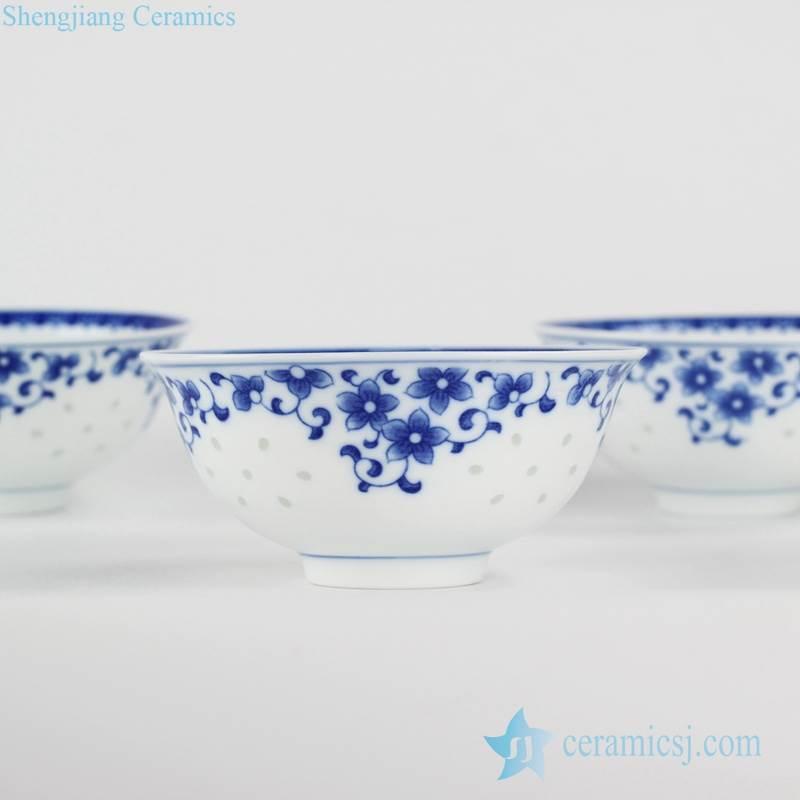 transparent rice hole design household floral pattern porcelain soup bowl