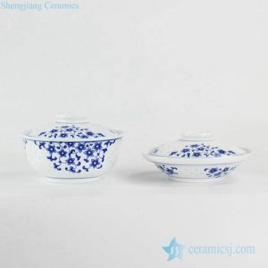 RZKH02 Blue and white transparent rice pattern household daily use ceramic tureen