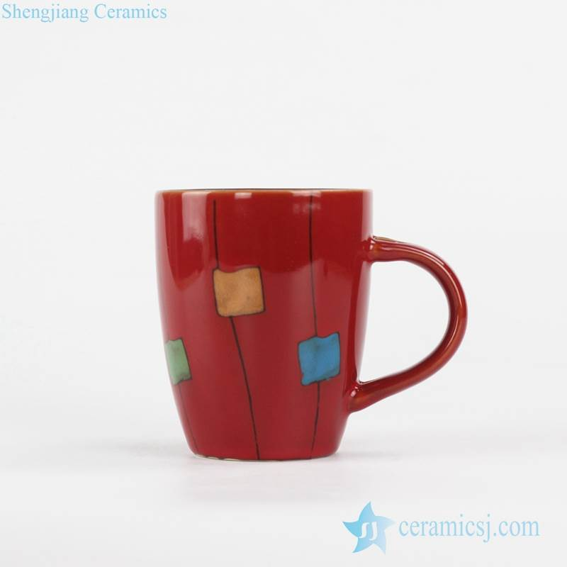 red color cute crayon square pattern ceramic gargle cup