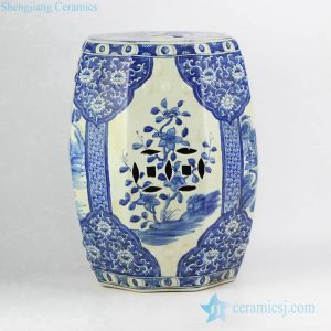 RZKJ01-A Asian style hand paint blue floral and ancient China architecture pattern banquet hall lounge ceramic table end