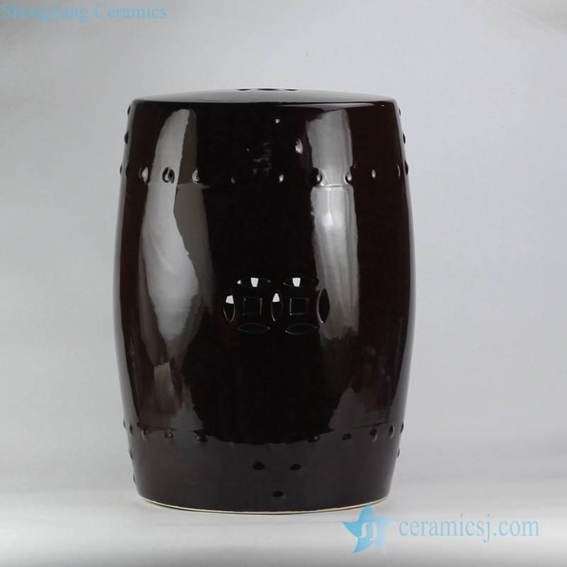 black solid color ceramic drum stool for garden lawn