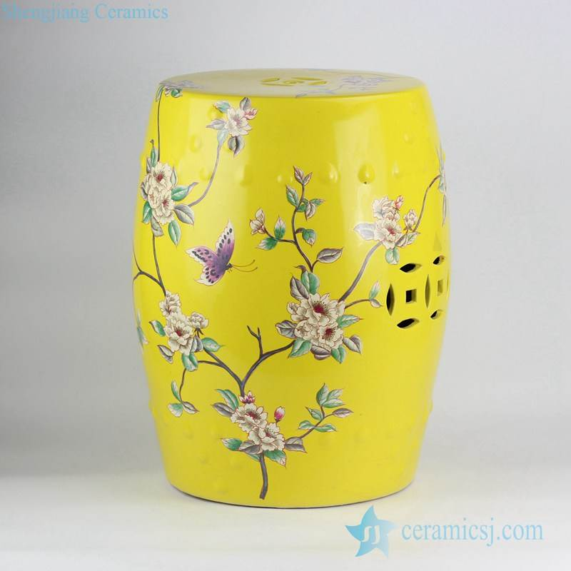 Lemon color ground floral and butterfly mark contemporary crockery bar stools