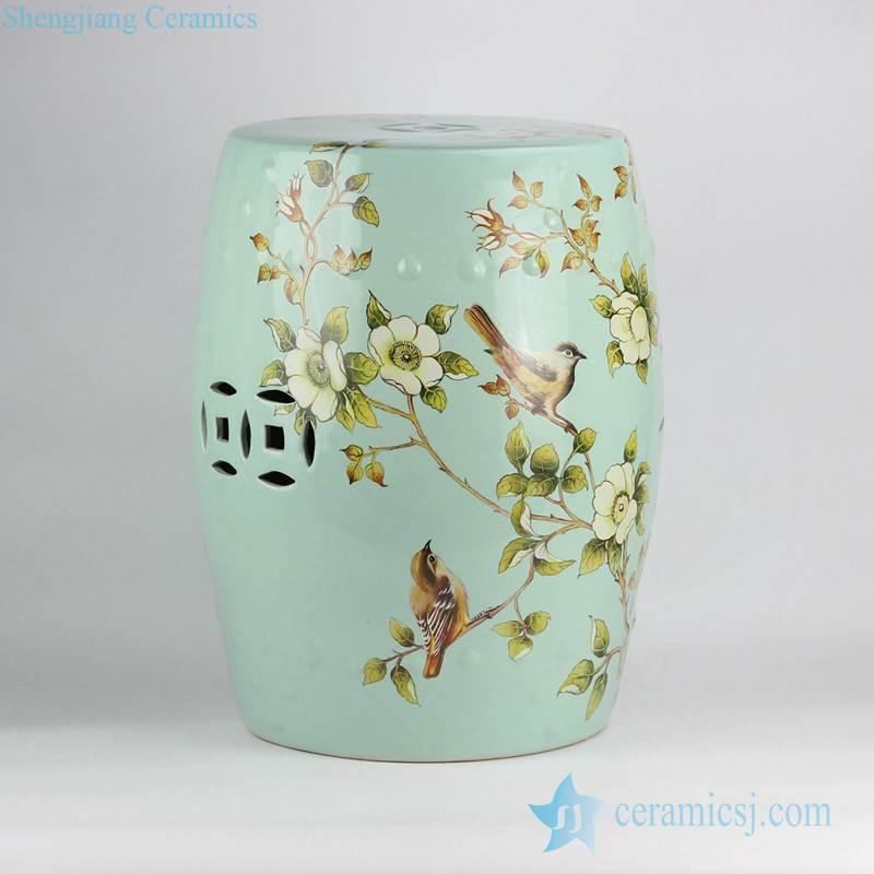 Turquoise color light green glaze ground European style garden decoration porcelain rest seat