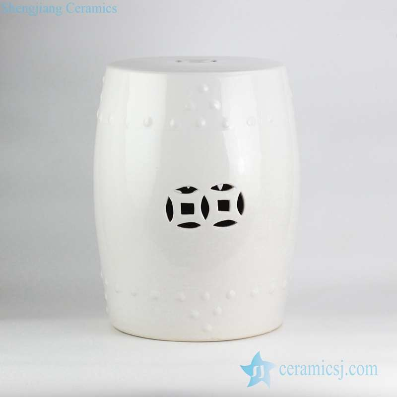 RZKL03-D Ceramic enthusiasts best choice bathroom white porcelain drum stool