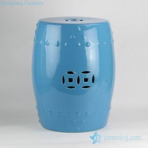 RZKL03-E dodger blue glaze wholesale cheap price dignified porcelain stool for bathroom