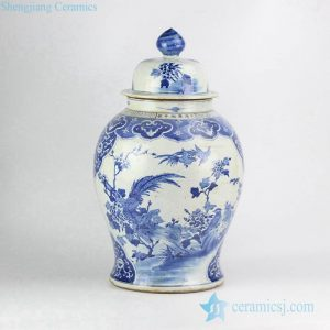 RZKM01-A Qing dynasty royal Kangxi emperor era reproduction factory direct sale hand paint birds floral pattern porcelain exhibition jar