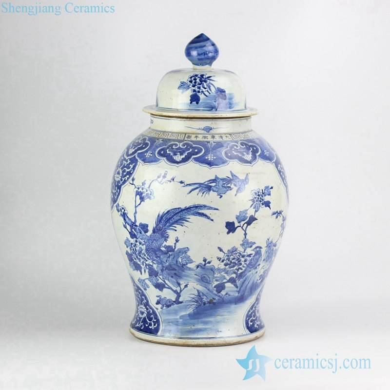 Antique reproduction piece factory direct sale old style hand paint birds floral pattern porcelain exhibition jar