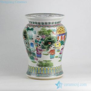 RZKN01 antique reproduction piece old age famille rose hand paint kids pattern porcelain jar