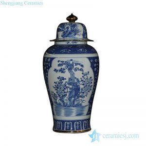 RYLU43-B Oriental blue and white golden line pair birds pattern hand paint exquisite tall ceramic jar with lid