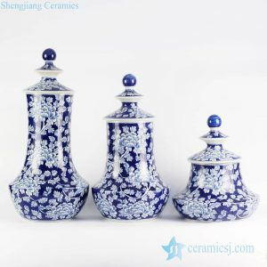 RYLU99-A Set of three hand paint peony flower design hand paint collectible porcelain spice oil jar