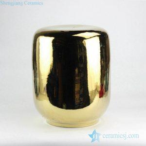 RYNQ144-B Glossy gold mirror glaze ceramic living room stool