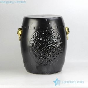 RYNQ53-E Golden lion ring handle matt black solid color glaze carved ceramic ottaman