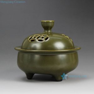 RYPM34 Tea dust glaze solid color China heritage three feet ceramic incense burner