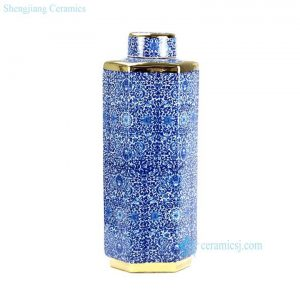 RYTM38-B Hundreds of flowers pattern golden line hexagonal shape slim and tall ceramic jar with lid