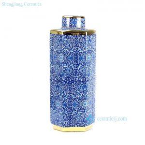 RYTM38-B Hundreds of flowers pattern golden line hexagonal shape slim and tall ceramic jar with lid