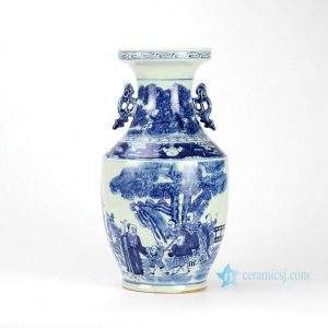 RYWD19 blue and white hand paint Confucius and children pattern ceramic vase with ears