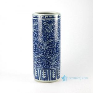 RYWD20 Antique reproduction blue and white hand paint floral pattern tall ceramic umbrella stand