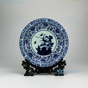 RYXC31-C Hand paint Jingdezhen traditional lotus bird pattern ceramic decor tray